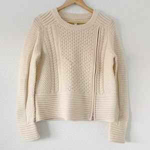 Veronica Beard Ivory Cable Knit Zipper Sweater M